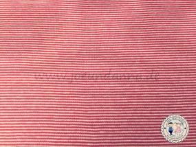 Bündchen mini Streifen Rot/ Weiß 1mm