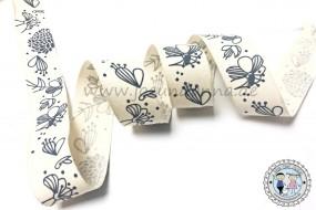 breites Baumwollband Blumen - Blau auf Natur 25mm