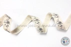 Baumwollband Blumen - Schwarz-Weiß-Optik - 15mm