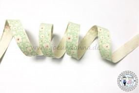 Baumwollband Blumen pastell Mint 15mm