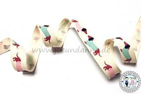 Baumwollband Hund Dackel 15mm