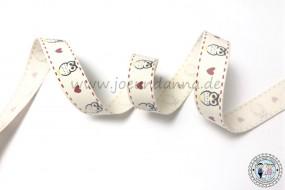 Baumwollband Eule - Herz - Eule 15mm