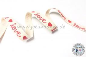 Baumwollband Love mit Herzen 15mm