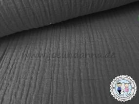 Musselin Grau /Anthrazit Double Gauze Baumwolle