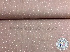 Musselin Punkte Weiß auf Altrosa Double Gauze Baumwolle
