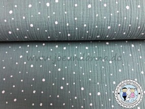 Musselin Punkte Weiß auf Mint Double Gauze Baumwolle