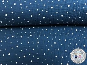 Musselin Punkte Weiß auf Navy Double Gauze Baumwolle
