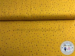 Musselin Punkte Schwarz auf Senf Double Gauze Baumwolle