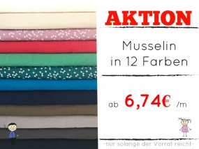 AKTION Musselin -12 Farben- Double Gauze Meterware