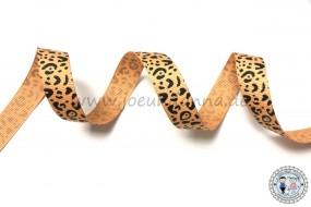 Ripsband Leo Leopard Schwarz Senfgelb 15mm