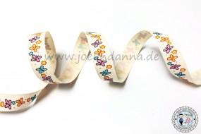 Baumwollband Schmetterlinge mit Blümchen bunt 15mm