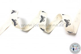 Baumwollband Schmetterling Schwarz-Weiß Look 15mm