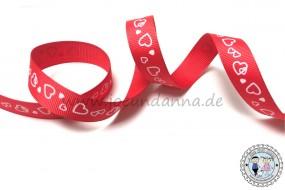 Ripsband Rot mit weißen Herzchen 15mm