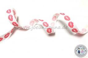 Ripsband Kussmund Lippen Coral 15mm