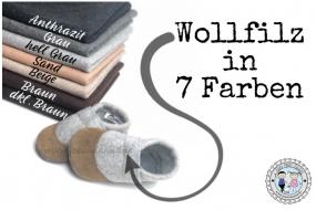 Wollfilz - Filz 2mm meliert versch. Farben und Größen