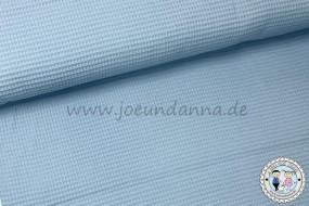 Waffelpique Baumwolle hell pastell Blau / Eisblau