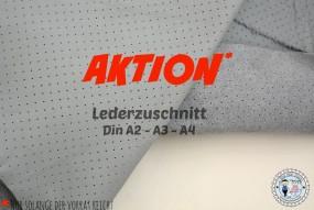 Lochleder hell Grau Lederzuschnitt