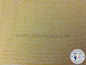 Jersey mini Streifen 1mm Senf/ weiß